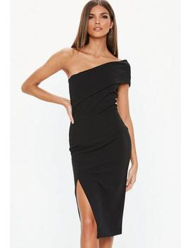 Black One Shoulder Crepe Dress by Missguided