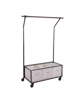 Bronze Portable Garment Rack With Storage Bins by Honey Can Do