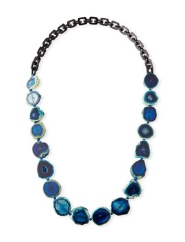 Long Dark Horn & Blue Agate Necklace by Nest Jewelry