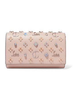 Paloma Embellished Textured And Patent Leather Clutch by Christian Louboutin