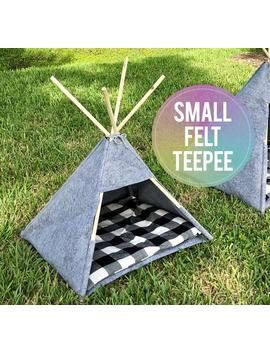 Cat Bed, Dog Bed, Teepee, Tipi, Pet, Felt, Buffalo Plaid, Small Size, 100 Percents Pure Merino Wool Felt Pet Teepee   Great For Both Cats And Dogs! by Etsy