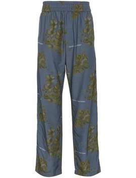 X Browns Blue Floral Print Cotton Blend Trousers by Off White