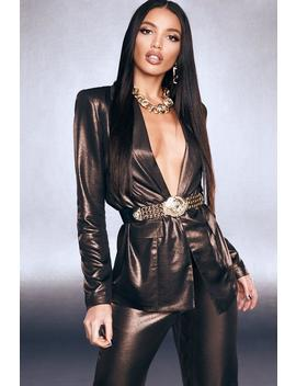 Premium Foiled Satin Blazer With Shoulder Pads by Boohoo