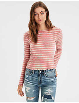 Ae Long Sleeve Stripe Ribbed Tee by American Eagle Outfitters