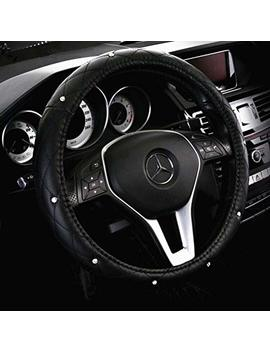 Red Rain Car Steering Wheel Covers Leather With Diamonds Universal 15 Inch For Auto Truck Suv (A Black) by Red Rain