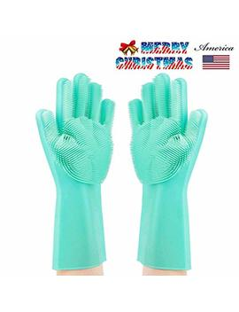 Letlar Magic Saksak Silicone Cleaning Gloves Brush Scrubber, Reusable Silicone Dish Wash Scrubbing Sponge Gloves With Bristles For Household, Washing Dish, Kitchen, Car,Bathroom, Pet And More by Letlar
