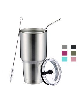 Dynamic Se 30oz Tumbler Double Wall Stainless Steel Vacuum Insulated Travel Mug With Splash Proof Lid Metal Straw And Brush by Dynamic Se