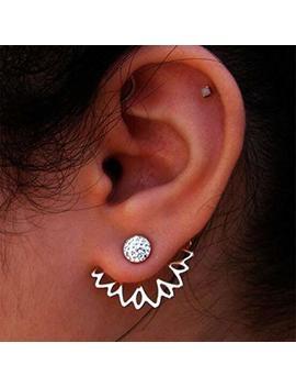 Unke Sunflower With Single Row Drilling Rhinestone Womens Stud Earrings ,Sliver by Unke