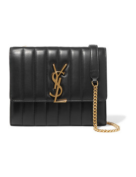 Vicky Quilted Leather Shoulder Bag by Saint Laurent