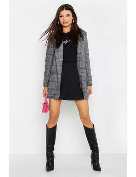 Checked Wool Look Boyfriend Coat by Boohoo