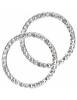 Earthland 2 Pcs Crystal Rhinestone Ring For Car Decor, Auto Engine Start Stop Decoration Crystal Interior Ring Decal For Vehicle Ignition Button Silvery by Earthland