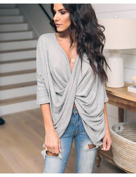 Alanis Thermal Drape Top   Heather Grey by Vici