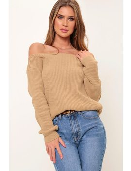 Camel Slash Neck Knitted Jumper by I Saw It First