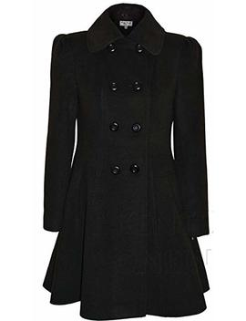 Womens Double Breasted Long Coat Wool Touch Fit And Flare Ladies Winter Coat With Inside Lining by Vicky Smith London