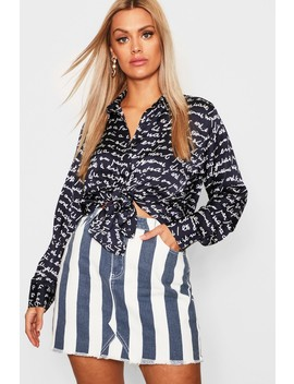 Plus Satin Conversational Print Shirt by Boohoo