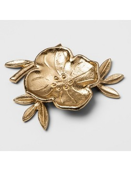 "4.4"" X 1.1"" Decorative Cast Metal Floral Dish Gold   Opalhouse™ by Opalhouse"