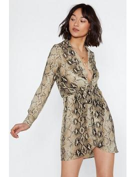 Snake A Minute Plunging Dress by Nasty Gal