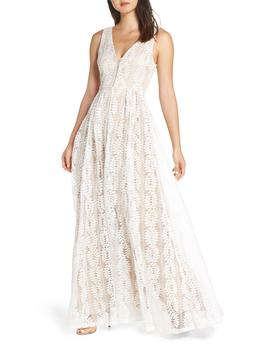 Eliana Lace V Neck Gown by Lulus