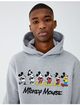 Grey Mickey Mouse Hoodie by Pull & Bear