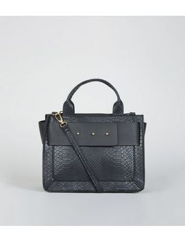 Black Faux Croc Stud Strap Top Handle Bag by New Look