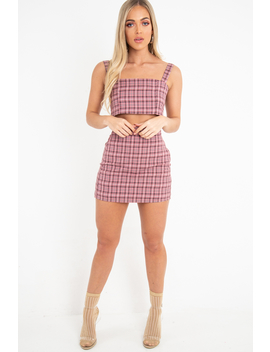 Pink Checked Bodycon Mini Skirt   Adaya by Rebellious Fashion