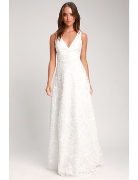 Fausta White Embroidered Sleeveless Maxi Dress by Lulus