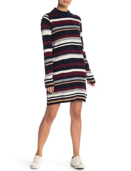 Striped Mock Neck Sweater Dress by Cotton Emporium