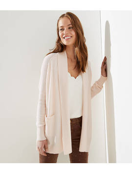 Textured Shawl Pocket Open Cardigan by Loft