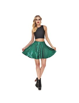 Lesubuy Bright Fish Scales Christmas Party Cute Skirt Shiny Mermaid Tail Mini Flared Skater Knee Length Skirts For Women by Lesubuy