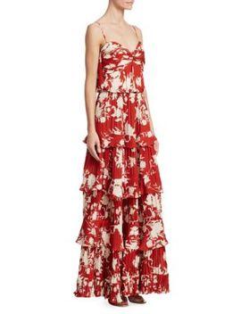 Old Garden Rose Silk Tiered Dress by Johanna Ortiz