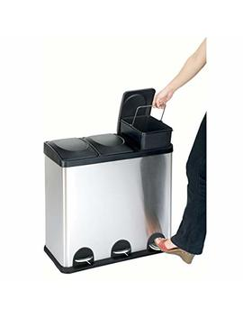 The Step N' Sort 16 Gal. 3 Compartment Stainless Steel Trash And Recycling Bin by Step N' Sort