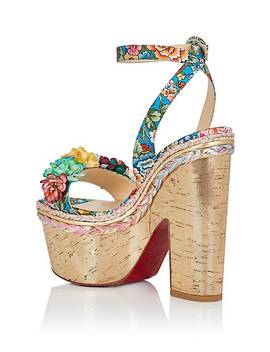 Ariellesevillana Floral Satin Platform Sandals by Christian Louboutin