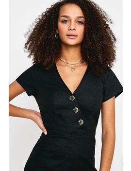 Uo Karen Black Surplice Button Through Jumpsuit by Urban Outfitters