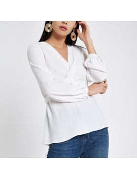 White Cross Front Tie Back Blouse by River Island