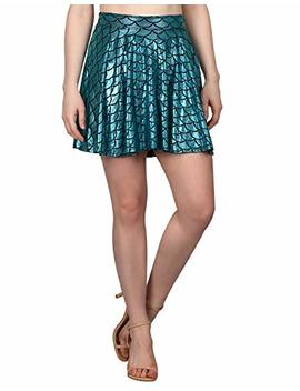 Hde Womens Shiny Mermaid Fish Scale Mini Flared Pleated Skater Skirt by Hde