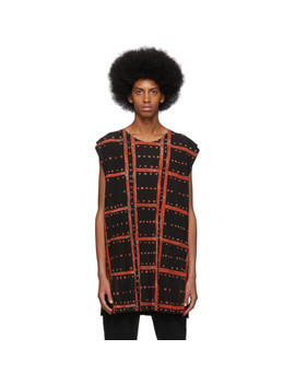 Black Ladder Check Tank Top by Homme PlissÉ Issey Miyake