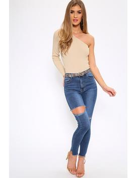Mid Wash Thigh Slit Skinny Jeans by I Saw It First