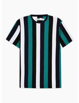 Teal, Black And White Striped T Shirt by Topman