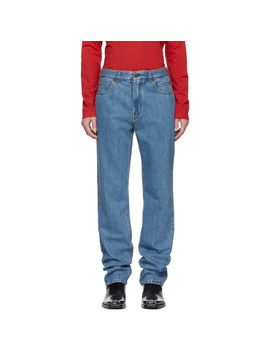 Blue Straight Jeans by Calvin Klein 205 W39 Nyc