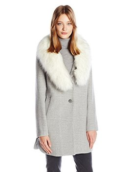T Tahari Women's Olivia Fitted Plaid Wool Coat by T Tahari