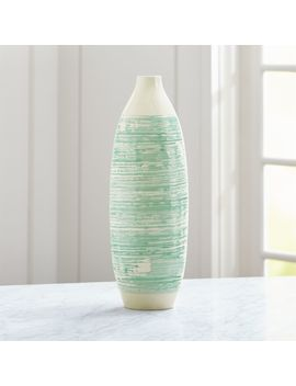 Camila White And Aqua Vase by Crate&Barrel
