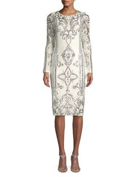 Long Sleeve Sequin Sheath Dress by Betsy & Adam