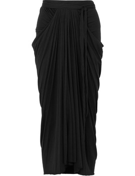 Draped Stretch Jersey Midi Skirt by Rick Owens