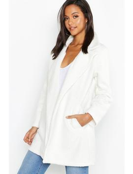 Faux Teddy Fur Collared Jacket by Boohoo