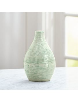 Cara White And Aqua Vase by Crate&Barrel