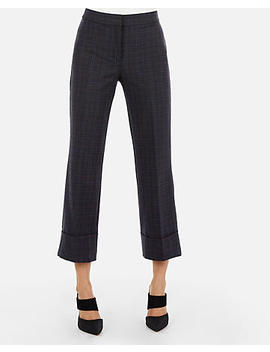 High Waisted Plaid Cuffed  Cropped Pant by Express