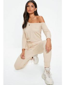 Petite Camel Loopback Off The Shoulder Jumpsuit by Missguided