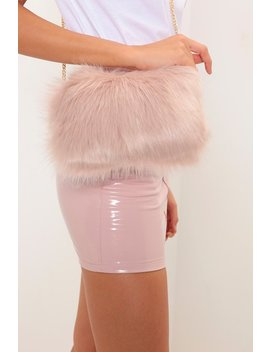 Blush Faux Fur Cross Body Bag by I Saw It First