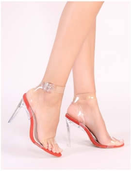 Slice Strappy Perspex High Heels In Rust by Public Desire