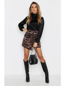 Leopard Cord Wrap Button Skort by Boohoo